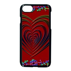 Red Heart Colorful Love Shape Apple Iphone 7 Seamless Case (black)