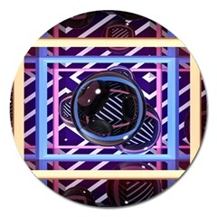Abstract Sphere Room 3d Design Magnet 5  (round)