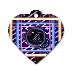 Abstract Sphere Room 3d Design Dog Tag Heart (Two Sides)