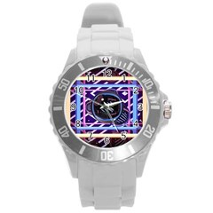Abstract Sphere Room 3d Design Round Plastic Sport Watch (l)