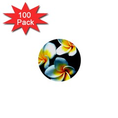 Flowers Black White Bunch Floral 1  Mini Buttons (100 Pack)  by Nexatart