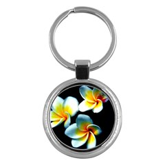Flowers Black White Bunch Floral Key Chains (round)