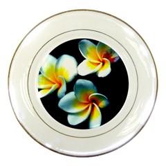 Flowers Black White Bunch Floral Porcelain Plates