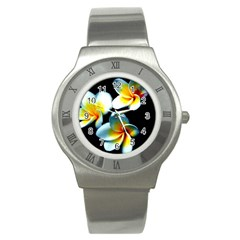 Flowers Black White Bunch Floral Stainless Steel Watch by Nexatart