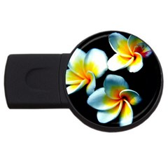 Flowers Black White Bunch Floral Usb Flash Drive Round (4 Gb) by Nexatart