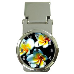 Flowers Black White Bunch Floral Money Clip Watches by Nexatart