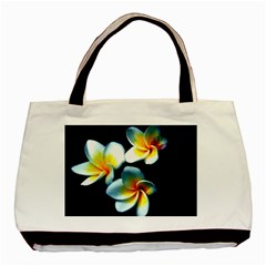 Flowers Black White Bunch Floral Basic Tote Bag (two Sides)