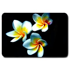 Flowers Black White Bunch Floral Large Doormat  by Nexatart