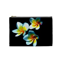 Flowers Black White Bunch Floral Cosmetic Bag (medium)