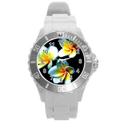 Flowers Black White Bunch Floral Round Plastic Sport Watch (l) by Nexatart