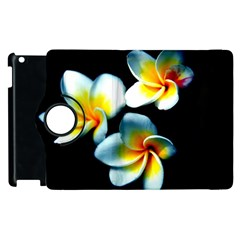 Flowers Black White Bunch Floral Apple Ipad 3/4 Flip 360 Case by Nexatart