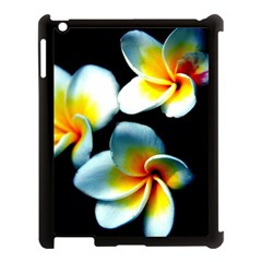 Flowers Black White Bunch Floral Apple Ipad 3/4 Case (black) by Nexatart