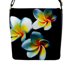 Flowers Black White Bunch Floral Flap Messenger Bag (l)  by Nexatart