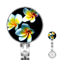 Flowers Black White Bunch Floral Stainless Steel Nurses Watch by Nexatart