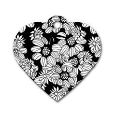 Mandala Calming Coloring Page Dog Tag Heart (one Side) by Nexatart