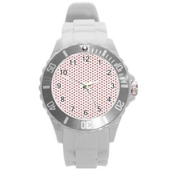 Motif Pattern Decor Backround Round Plastic Sport Watch (l)
