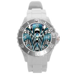 Abstract Art Design Texture Round Plastic Sport Watch (l)