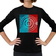 Vector Watch Texture Red Blue Women s Long Sleeve Dark T Shirts
