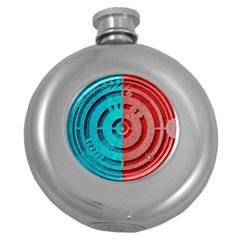 Vector Watch Texture Red Blue Round Hip Flask (5 Oz) by Nexatart