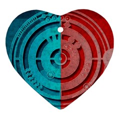 Vector Watch Texture Red Blue Heart Ornament (two Sides)