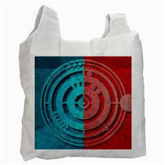 Vector Watch Texture Red Blue Recycle Bag (two Side)