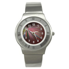 Pattern Flower Background Wallpaper Stainless Steel Watch by Nexatart