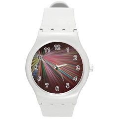 Pattern Flower Background Wallpaper Round Plastic Sport Watch (m) by Nexatart
