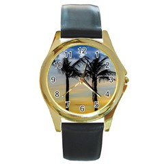 Palm Trees Against Sunset Sky Round Gold Metal Watch by dflcprints