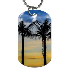 Palm Trees Against Sunset Sky Dog Tag (two Sides) by dflcprints