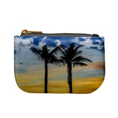 Palm Trees Against Sunset Sky Mini Coin Purses by dflcprints