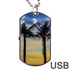 Palm Trees Against Sunset Sky Dog Tag Usb Flash (one Side) by dflcprints