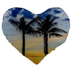 Palm Trees Against Sunset Sky Large 19  Premium Heart Shape Cushions by dflcprints