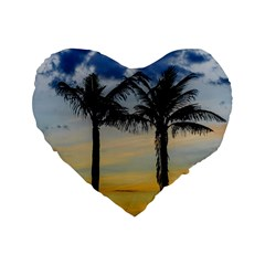 Palm Trees Against Sunset Sky Standard 16  Premium Flano Heart Shape Cushions by dflcprints