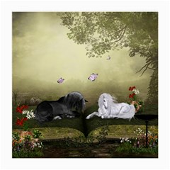 Wonderful Whte Unicorn With Black Horse Medium Glasses Cloth (2 Side) by FantasyWorld7