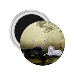 Wonderful Whte Unicorn With Black Horse 2 25  Magnets by FantasyWorld7