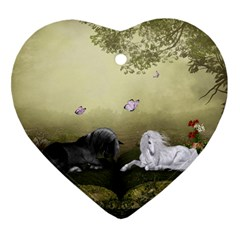 Wonderful Whte Unicorn With Black Horse Heart Ornament (two Sides) by FantasyWorld7