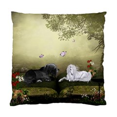 Wonderful Whte Unicorn With Black Horse Standard Cushion Case (two Sides) by FantasyWorld7