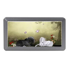 Wonderful Whte Unicorn With Black Horse Memory Card Reader (mini) by FantasyWorld7
