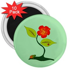Plant And Flower 3  Magnets (10 Pack)  by linceazul