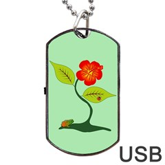 Plant And Flower Dog Tag Usb Flash (two Sides) by linceazul