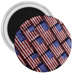 Usa Flag Grunge Pattern 3  Magnets by dflcprints