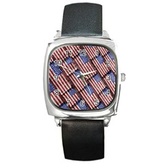 Usa Flag Grunge Pattern Square Metal Watch by dflcprints