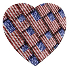 Usa Flag Grunge Pattern Jigsaw Puzzle (heart) by dflcprints