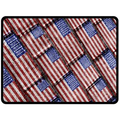 Usa Flag Grunge Pattern Fleece Blanket (large)  by dflcprints