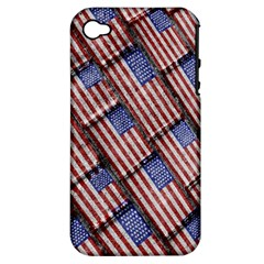 Usa Flag Grunge Pattern Apple Iphone 4/4s Hardshell Case (pc+silicone) by dflcprints