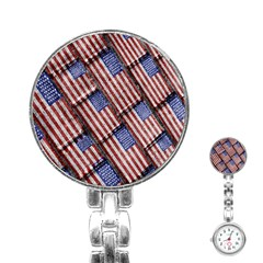 Usa Flag Grunge Pattern Stainless Steel Nurses Watch by dflcprints