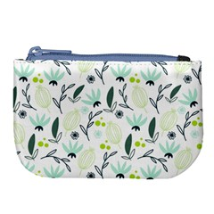 Hand Drawm Seamless Floral Pattern Large Coin Purse by TastefulDesigns