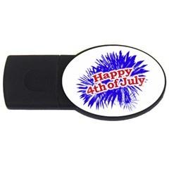 Happy 4th Of July Graphic Logo Usb Flash Drive Oval (2 Gb) by dflcprints