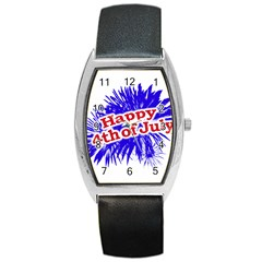 Happy 4th Of July Graphic Logo Barrel Style Metal Watch by dflcprints