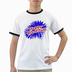 Happy 4th Of July Graphic Logo Ringer T Shirts by dflcprints